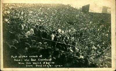 1920 RPPC Baseball Postcard Crowd at League Park Cleveland Indians WORLD SERIES!