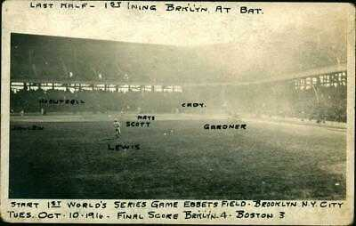 1916 RPPC Baseball Postcard 1st World Series Game Ebbetts Field Red Sox  Dodgers