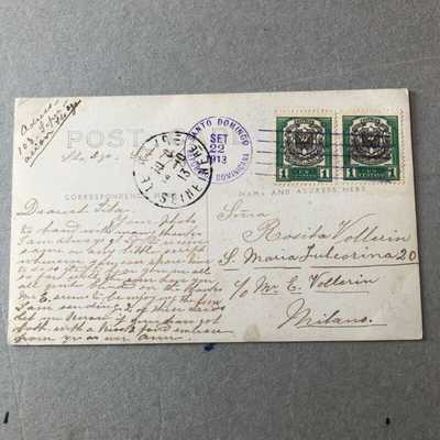 Z) Postcard Santo Domingo Dominican Republic 1913 to Italy