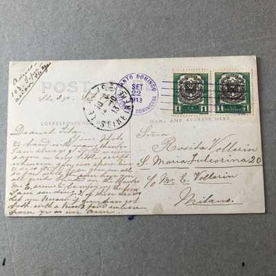 Z) Postcard Santo Domingo Dominican Republic 1913 to Italy