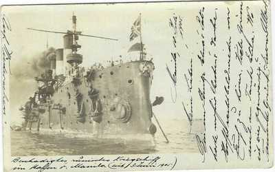 Philippines 1905 photographic card of naval vessel used to Switzerland