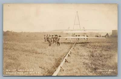 EARLY AVIATION WRIGHT AEROPLANE COLLEGE PARK MD ANTIQUE REAL PHOTO POSTCARD RPPC