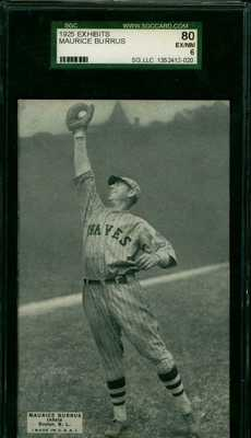 1925 Postcard Like Baseball Exhibit Card Maurice Burrus Boston Braves HIGHEST GR