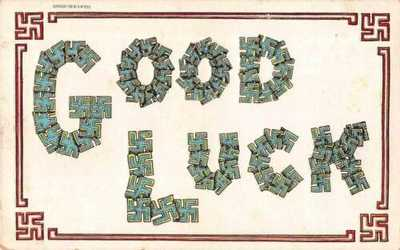 Good Luck Greetings Large Letter Swastika Vintage Postcard AA7505