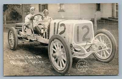 ELGIN AUTO RACES ANTIQUE REAL PHOTO POSTCARD RPPC 1911 RALPH MULFORD LOZIER RARE