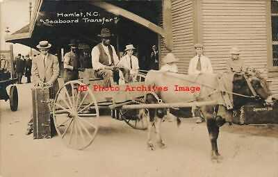 Black Americana, RPPC, Seaboard Ox Cart Transfer at Railroad Depot, Hamlet NC