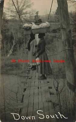Black Americana, RPPC, Women with Clothes Baskets,Swinging Bridge McMinnville TN