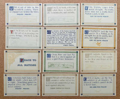 Rare ANTI WAR, PRO PEACE ca1920 12 card Set w/ SWASTIKAS, Env. - Diehl MONSEY NY