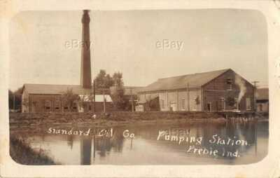RPPC PHOTO POSTCARD STANDARD OIL PUMPING STATION PREBLE INDIANA 1911 DECATUR IND