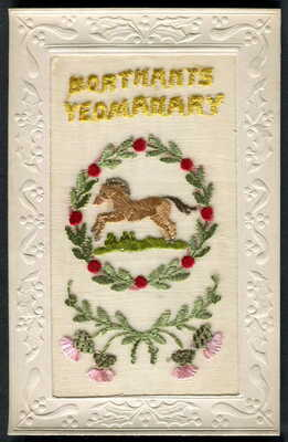 THE NORTHAMPTONSHIRE YEOMANRY. Territorial Cavalry. V.Scarce WW1 silk pc. c1916