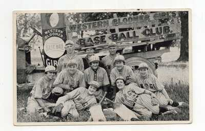 1923 Western Bloomer Girl's Baseball Team Real Photo Postcard