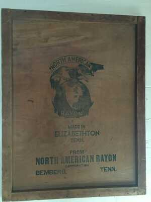 Elizabethton Tennessee Rayon Plant Wall Hanging (the side of an old crate)