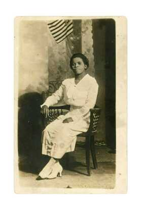 RPPC Elegant Black Women Photographed with Flag Baltimore, Maryland c 1918
