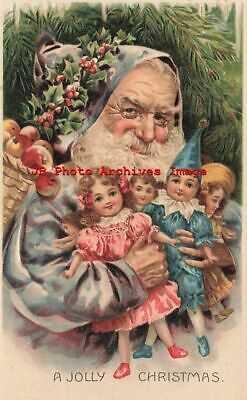 Christmas, Unknown Pub, Purple Robe Santa Holding Dolls