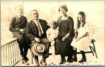 "1923 Kansas Postcard ""Dr. Brigesser & Family"" Porch Scene WACONDA SPRINGS Cancel"
