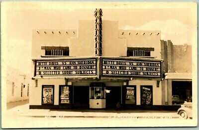 c1942 DEMING, New Mexico RPPC Real Photo Postcard EL RANCHO THEATRE Street View