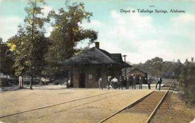 Talladega Springs Alabama Train Station Depot Vintage Postcard AA20701