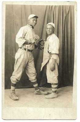 Baseball: 2 Black (Afro-Am) Players in Uniform; Studio Portrait; Real Photo PC