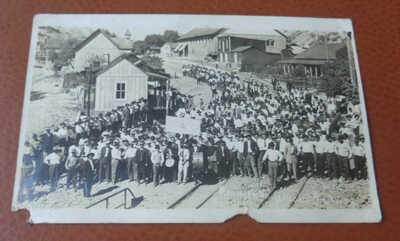 1915 RPPC Postcard Union Parade Metcalf Arizona Ghost Mining Town