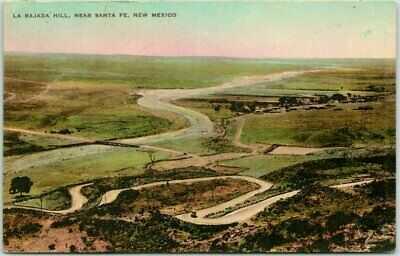 "1929 Santa Fe, New Mexico Postcard ""LA BAJADA HILL"" Aerial View Hand-Colored"