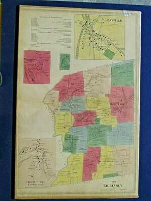 1869 KILLINGLY, CT., HAND COLORED  MAP, NOT A REPRINT, 28X18  INCHES