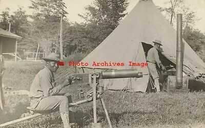Black Americana, RPPC, Military Soldier Sitting on Early Machine Gun