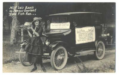 Amazing RPPC OVERLAND AUTO Lois Bauch GOLD FISH RUN in SOUTH DAKOTA ca1920 Rare!