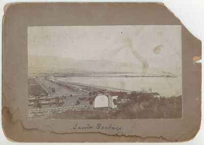 3 PHOTOS Santa Barbara, California - 1893 Cabinet Cards, Race Track, Adobe House