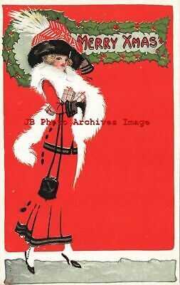 6 Postcards, Christmas, Gibson Art Co, Fade Away, Woman Shopping, Santa