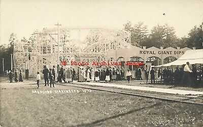 WI, Marinette, Wisconsin, RPPC, Lakeside Park, Royal Giant Dips Roller Coaster