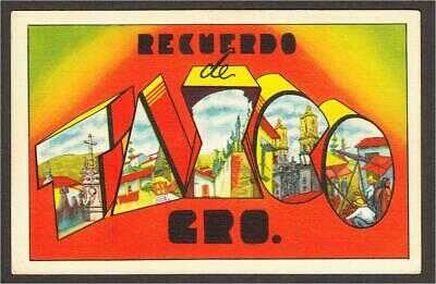 Taxco Mexico Large Letter Linen Postcard c.1940s by Asegurada