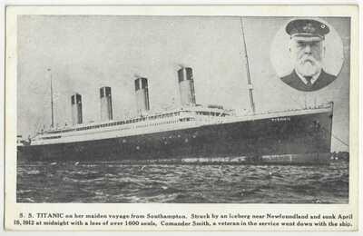 1912 RMS Titanic - White Star Line Steamship & Commander - Vintage Postcard