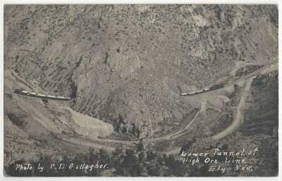1911 Ely, Nevada - REAL PHOTO Mining Ore Train in Railroad Tunnel, Old Postcard