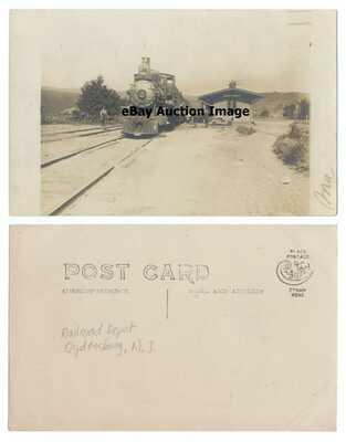Ogdensburg New Jersey Real Photo Postcard RAILROAD DEPOT 1910 Era