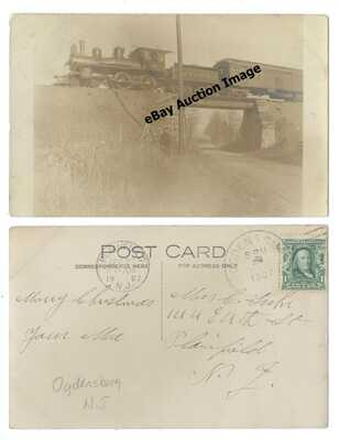 Ogdensburg New Jersey RPPC Real Photo Postcard NYS&W RR Train & Overpass 1907