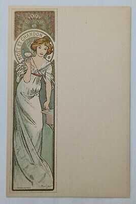 Wonderful Art Nouveau Postcard Menu by ALPHONSE MUCHA for MOET et CHANDON c.1900