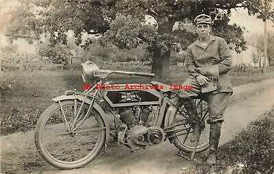 Unknown Location, RPPC, Man Sitting with His Excelsior Motorcycle, Photo