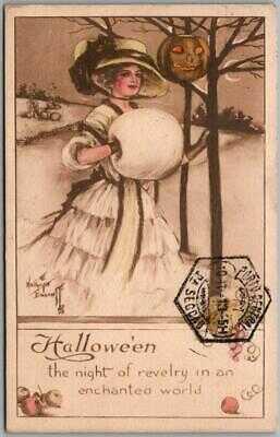 Vintage 1913 Gibson HALLOWEEN Postcard Pretty Lady / JOL / Portugal Cancel
