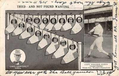 ANTIQUE WHITE SOX BASEBALL TEAM POSTCARD 1907 COMISKEY FIELDER JONES BILL BAILEY