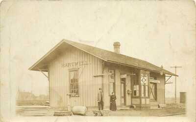 c1910 Railroad Depot at Hartwell, Missouri RPPC/Real Photo Postcard
