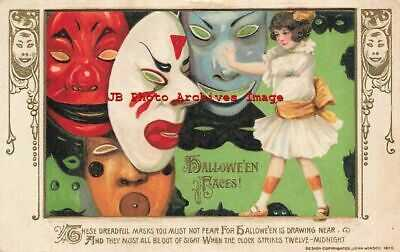 Halloween, Winsch 1913 No WIN01-1, Schmucker, Girl with Dreadful Masks