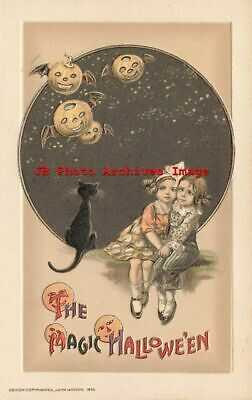 Halloween, Winsch 1915 No WIN01-1, Schmucker, Children Watch JOLs with Bat Wings