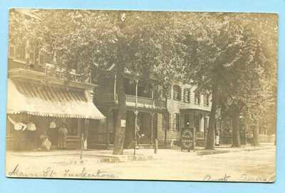 1910 TUCKERTON NJ RPPC Main Street w/ Ice Cream Parlor Sign * Real Photo