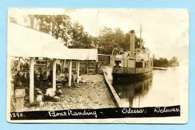 1913 ODESSA DE RPPC * Steamer Clio at Boat Landing DELAWARE Real Photo AZO