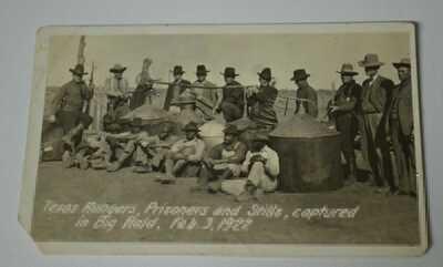 Antique RPPC Postcard Texas Rangers Lawmen Prisoners & Whiskey Stills Raid 1922