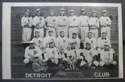 Old Postcard - 1907 Detroit Tigers Club - H. M. Taylor Detroit - w/ Ty Cobb