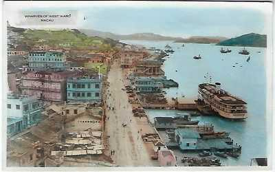 Macau China 1957 postcard Wharves of West Ward used to USA