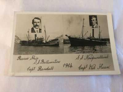 Rare Original Florizel S.S. Bellaventure S.S. Newfoundland Rescue Ship Postcard
