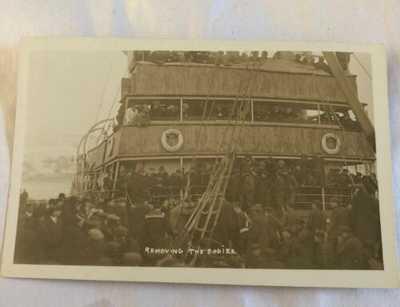 Original R.P.P.C. S.S Florizel Shipwreck Removing Bodies Newfoundland Postcard