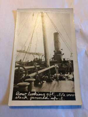 Original R.P.P.C. S.S. Florizel Shipwreck Bow Looking Aft Newfoundland Postcard